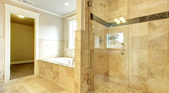 polished glass shower door