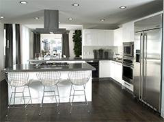 Kitchen with silver applicances