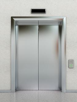 Stainless steel elevator doors